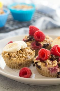 These easy baked oatmeal cups use only FOUR basic ingredients and they're loaded with protein, make ahead and freezer friendly, perfect for breakfast