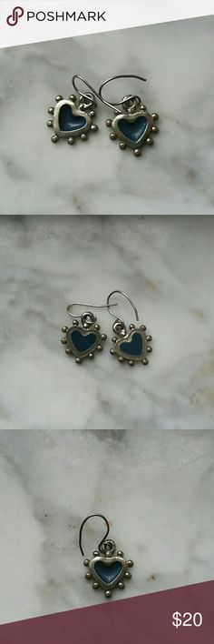 """STERLING SILVER - TURQUOISE HEART EARRINGS Cute little hanging hearts  With little balls on outside of them n turquoise  ( what I was told) in center.  Cute, petite...only 1"""" total 1/2"""" hearts Sanitized but will clean them again with purchase Sterling silver  Jewelry Earrings"""