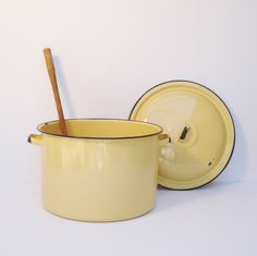 Vintage Enamel Cookware Old Stockpot Yellow by AlegriaCollection
