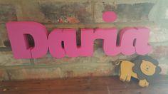 Daria - 3d Nursery Baby Name - hand painted single colour available from www.lemonsigns-shop.com