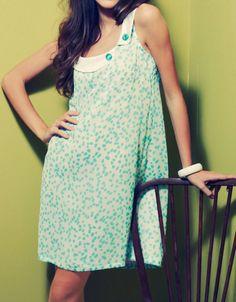 60s Shift Dress Green Polka Dot Silk & Sateen Collar with Buttons - Limited Edition Formal Sleeveless Dress.