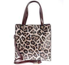 Τσάντα λεοπάρ / μπορντό, 29,00€.