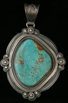 Old Pawn Indian Turquoise Jewelry | Wallace Yazzie Sterling Silver Turquoise Necklace Pendant
