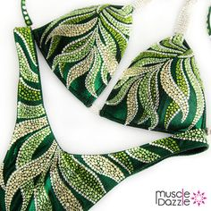 This crystal figure competion suit features leaves of green and light yellow with highlights of clear crystal - on a deep green holographic fabric Bikini Competition Prep, Figure Competition Suits, Fitness Competition, Bikini Workout, Bikini Fitness, Men's Fitness, Muscle Fitness, Gain Muscle, Muscle Men