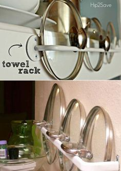 Using a simple towel rack to store your pot and pan lids is a fantastic way to keep your kitchen more organized.