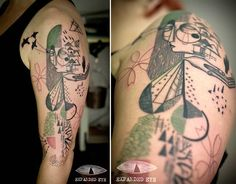 <p>This tattoo is on a Greenpeace member and rescue worker at the Fukushima nuclear disaster. Her experiences led her to want a tattoo that spoke to the triumph of nature and the human spirit in the face of extreme adversity.</p>