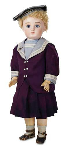 The Well-Bred Doll: 85 French Bisque Bebe Steiner,Series C,in Wonderful Antique Mariner Costume