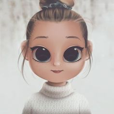 Cartoon, Portrait, Digital Art, Digital Drawing, Digital Painting, Character Design, Drawing, Big Eyes, Cute, Illustration, Art, Girl, Snow, Sweater, Bun #digitalart