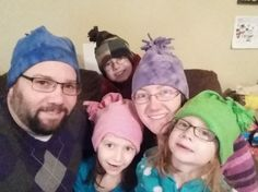 The Montville family sporting Not Perfect Hats purchased from Deb Aubin's Not Perfect Hat Club in Whitehall, New York