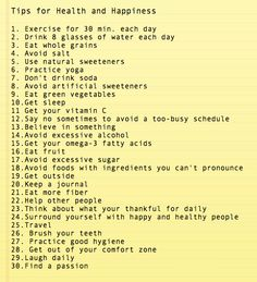 Health Tips to Save Your Wealth: TIPS FOR HEALTH & HAPPINESS