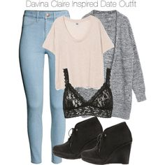 Davina Claire Inspired Date Outfit by staystronng on Polyvore featuring polyvore, fashion, style, H&M, Hanky Panky, rag & bone, to, date and DavinaClaire