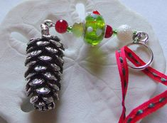 Beaded Christmas ornaments handmade - pine cone  icicles -  angel ornaments - glass Christmas tree hangers - red  snowflake ornament -