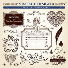 Elementos caligráficos vintage ornamento conjunto. vector de día de ...