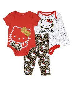 White Hello Kitty Bodysuit & Pants Set - Infant #zulily #zulilyfinds