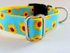Sunflowers Dog Collar  Martignale or Buckle by CollarHabit on Etsy, $18.00