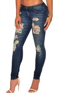 Sidefeel Women Dark Sandblast Wash Denim Destroyed Skinny Jeans Large Dark Blue: These skinnies feature rips and frayed holes detail. Other features include whisker wash denim, five pockets, belt loops and a button closure with a zip fly. Cheap Skinny Jeans, Girls Ripped Jeans, Ripped Jeans Outfit, Blue Jeans, Jeans Boyfriend, Blue Denim, Dark Jeans, Pants Outfit, Jeans Pant Shirt