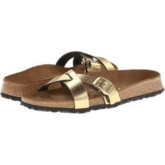 Birkenstock Catania by Papillio Women's Shoes, Gold ($66) ❤ liked on Polyvore
