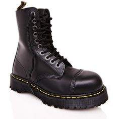 Dr. Martens 8761 BXB Boots (580 PLN) ❤ liked on Polyvore featuring shoes, boots, steel toe boots, leather combat boots, leather steel toe boots, leather military boots and military boots