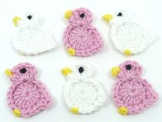 Easter chicks, Easter appliques, 6 pretty crochet birds , 3 candy pink and 3 white. These cute applique birds measure approximately 1¼ ins (3cms) across. and 1¼ ins (3cms) tall. They can be used for a wide variety of craft projects including cardmaking, appliques, scrapbooking,