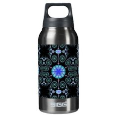 Black and Blue Snowflake Mandala SIGG Thermo 0.3L Insulated Bottle - $50.95 - Color-Me! Funky Hippy Retro Flowers 18oz Water Bottle - by #RGebbiePhoto @ zazzle - #abstract #blue #mandala - A beautiful blue mandala medallion with an abstract snowflake design in the center. Beaded swirls surround the border area, completing this blue on black classic design.
