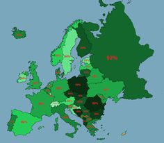 Map of Europe showing the non-immigrant native population percentages