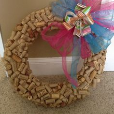 I made two cork wreaths for my two front doors. I figured I could just change the bows out with the different times of year.