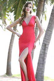 eDressit Sexy Ilusion V Cut Hoch Schlitz Rot Formal Kleid (00160102)