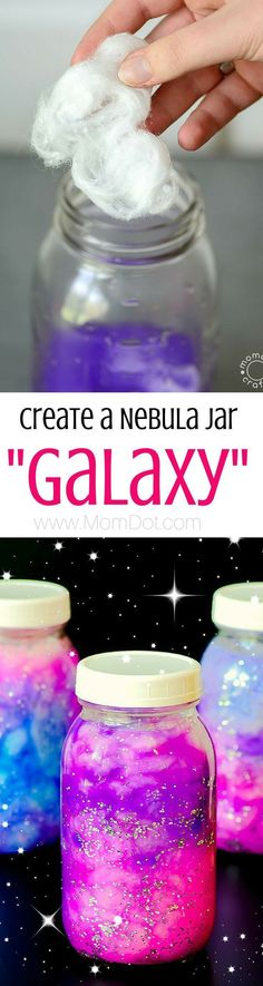 Jar DIY Hold the Galaxy Glowing in your hands How to make a nebula jar, sometimes called a Galaxy Jar. Fun tutorial and great for calming kids.How to make a nebula jar, sometimes called a Galaxy Jar. Fun tutorial and great for calming kids. Crafts To Do, Kids Crafts, Craft Projects, Projects To Try, Arts And Crafts, Fun Crafts For Teens, Space Projects, Paper Crafts, Craft Kids