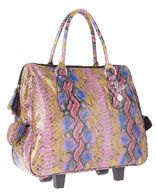 "Big Buddha ""Jetsetter"" 17in Rolling Carry-On. Purple and multicolor exotic snake skin embossed faux leather carry-on with gold-tone hardware.Approximately 17in at widest point x 7in deep x 17in high."