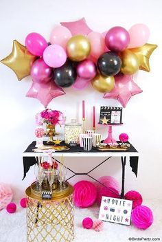 Movie Night Party Ideas in Pink, Gold and Black - easy, glam and girly ideas for hosting a cinema birthday party premiere, or watching the Oscars! Cadeau Baby Shower, Idee Baby Shower, Birthday Crafts, Birthday Party Themes, Birthday Wishes, Balloon Garland, Balloons, Balloon Arch, Ideas Party