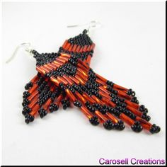 Pretty Classic Red and Black Chandelier Beaded Earrings TAGS - Jewelry, Earrings, Beaded, carosell creations, weaved, woven, red, black, fringe, glass, seed beads, dangle, bugle beads, chandelier, pierced, accessories, new, cherokee, apache, sioux, navajo, tribal, holiday gift idea, belly dancer, gypsy, brick stitched, pow wow, peyote, etsy, woman, ladies fashion, southwestern, native american indian