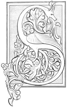 Illuminated Alphabet Coloring Pages Coloring Pages D At Getdrawings Free For Personal Use Coloring. Illuminated Alphabet Coloring Pages Coloring Pages. Medieval Manuscript, Medieval Art, Medieval Drawings, Renaissance Art, Illuminated Letters, Illuminated Manuscript, Celtic Alphabet, Design Art Nouveau, Jugendstil Design