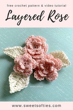 Free Crochet Rose Pattern, Crochet Tunic Pattern, All Free Crochet, Crochet Flower Patterns, Crochet Flowers, Free Pattern, Crochet Appliques, Rose Patterns, Crochet Applique Patterns Free