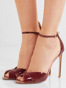 b70602f78d45 Burgundy Dress Sandals High Heel Women s Peep Toe Ankle Strap Sandal Shoes