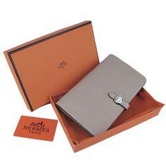 Hermes Dogon Grey Togo Sliver Hardware Women's Wallets money clip