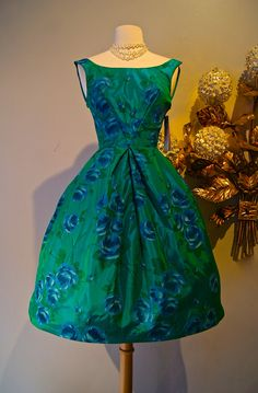 0dd6664910ba54 Vintage 50s Prom Dress   1950 s Rose Print Party by xtabayvintage 50s  Dresses