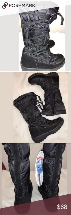 "Superfit ""Shayne"" Winter  Boots,  Black SZ 38/8 Warm with style. This boot is a lace front with an inside zipper for easy entry. For warmth, this boot is rated for temps -20C / -4F. Boot material is Faux-suede, fabric upper with a Fleece lining and shaft measures 11.5 in. and a 17.5-in. circumference. Size 38/8 Superfit Shoes Winter & Rain Boots"