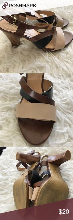 Brown tone Heels 👠 Excellent condition heels cream tan and black with a strap around the ankle Size 8 Merona Shoes Heels