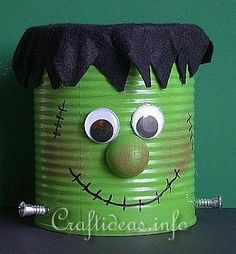 Halloween Craft - Recycling Craft - Frankie the Friendly Frankenstein Can