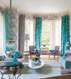 love the classic furnishings in unexpected colors.