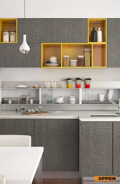 Modern Light Grey High Gloss Acrylic Kitchen Cabinet  Kitchen New Straight Line Kitchen Designs Decorating Inspiration