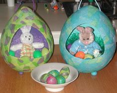 Make your own Easter baskets out of papier mache with balloons and tissue paper. Wonderful Easter ideas, recipes, tips and more can be found at Paper Mache Crafts For Kids, Making Paper Mache, Egg Crafts, Easter Crafts For Kids, Crafts To Make, Easter Ideas, Easter Stuff, Cardboard Crafts, Paper Crafts