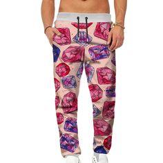 d5f6c17d42 Men 3D Printed Gemstone Overalls Casual Pocket Sport Work Casual Trouser  Pants