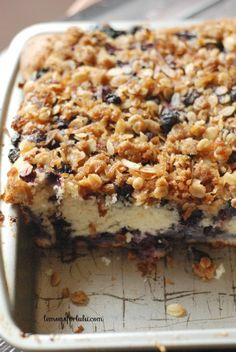 Blueberry Coffee Cake with Coconut Streusel. A tender coffee cake filled with lots of fresh blueberries and topped with the most perfect coconut streusel! What could possibly be wrong with this? Just Desserts, Delicious Desserts, Yummy Food, Baking Recipes, Cake Recipes, Dessert Recipes, Coffee Cake, Iced Coffee, Coffee Muffins