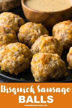 Bisquick Sausage Balls - - Bisquick Sausage Balls assemble in mere minutes to form bite-sized snacks that are full of flavor & perfect for dipping! Moist, meaty, & of course- delish! Appetizer Recipes, Snack Recipes, Cooking Recipes, Sausage Appetizers, Cooking Courses, Cooking Corn, Uk Recipes, Seafood Recipes, Easy Recipes