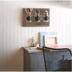 What a perfect combination of functional and decorative. I would love to use this rustic mason jar wall piece to organize items by my desk. Great farmhouse look! Wooden Plaque with Mason Jars Decor, How To Distress Wood, Rustic Decor, Wall Decor, White Elephant Gifts, Interior, Home Decor Kitchen, Home Decor, Mason Jars
