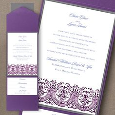 Hearts of Glory Layered Pocket Invitation A glorious flourished design is shown on this layered card enclosed with a pocket.