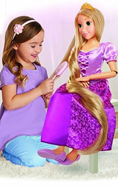 Disney Princess Rapunzel Playdate, My Size Articulated Doll, Comes with Brush to Comb Her Long Golden Locks, Movie Inspired Purple Dress, Removable Shoes & A Tiara Disney Prince Dolls, Disney Princess Rapunzel, Tangled Rapunzel, Little Girl Toys, Toys For Girls, Unicorn Fashion, Baby Alive Dolls, Baby Doll Accessories, Doll Hair