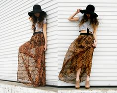 leopard maxi sheer skirt...