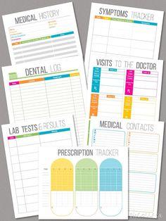 Medical Printables Set - DIY Medical Binder Set - Healthcare Printables - Medical History Printable - Symptoms Tracker - Dental Log - Prescription Tracker - Doctor Visits